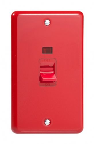 Varilight XY45N.PR Lily Primary Pillar Box Red 45A DP Cooker Switch Vertical Twin Plate + Neon